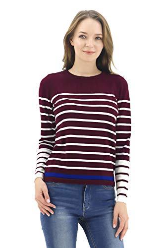 BENANCY Women's Crewneck Striped Long Sleeve Soft Pullover Knit Sweater Tops N Wine M ()