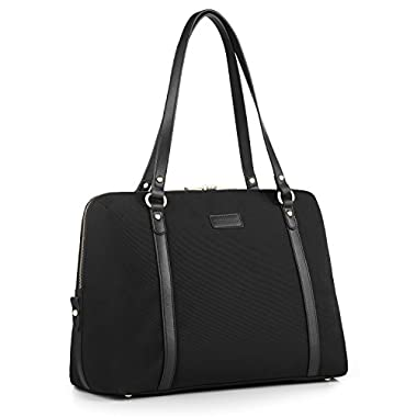 CHICECO Nylon Leather Holdall Travel Tote Weekend Bag, Fits up to 15.6-Inch Laptops - Black