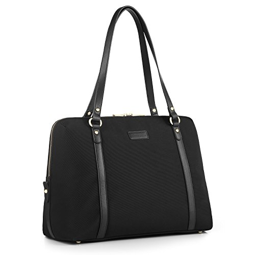 CHICECO Travel Tote Women's Briefcase for 15.6-Inch Laptops Carry On Bag - Black with Blue Lining (Bag Strap Tote With Suitcase)