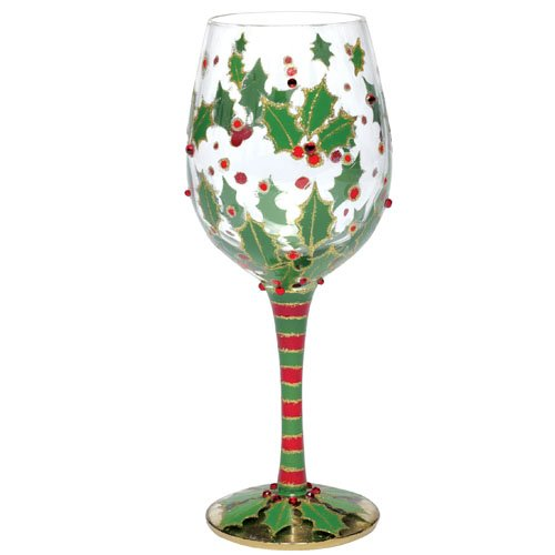Lolita Holly Berry (Christmas) Wine Glass Retired - Hand-Painted Gift-Boxed GLS11-5565H