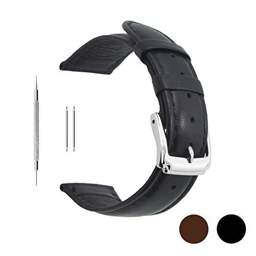 Berfine 22mm Black Calf Leather Watch Band Replacement,Extra Soft Watch Strap for Men Women - Leather Strap Watches For Women