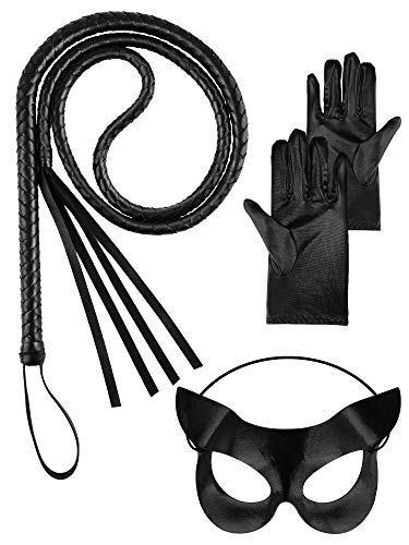 Catwomen Whip Costume Set, Include Black Whip, Cat Ear Mask and Leather Glove for Halloween Women Whip Suit, Cat Games, Role Playing