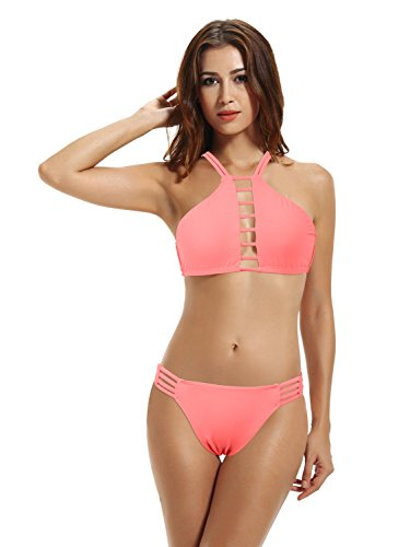 zeraca Women's High Neck Bikini Bathing Suit (L14, Pink Lemonade)