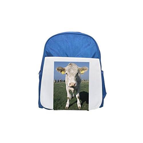 Frontal View of a cow with Día en Ears Printed Kid 's Blue Backpack, Cute de mochilas, Cute Small de mochilas, Cute Black Backpack, Cool Black Backpack, Fashion de mochilas, large Fashion de mochilas, Black fash