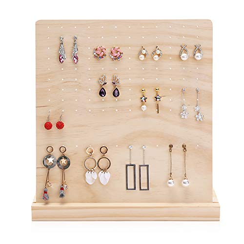 DesignSter Wood Earring Organizer Stand - Classy 108 Holes Earring Holder/Stud Earring Display Storage/Large Earrings Tower/Removable Wooden Jewelry Showcase