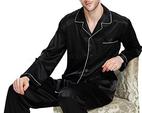 Mens Silk Satin Pajamas Set Pajama Pyjamas Set Sleepwear Loungewear,Wine Red,L by Toping Fine sleepwear (Image #5)