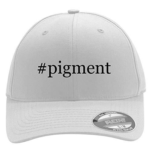 - #Pigment - Men's Hashtag Flexfit Baseball Cap Hat, White, Small/Medium