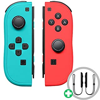 Joy Con Controller for N-Switch,Wireless Controller Replacement for N-Switch Support Wake-up Function with Strap(Blue and Neon Red)