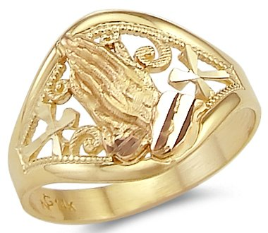 Size- 13 - 14k Yellow Rose Two Tone Gold Cross Praying Hands Ring