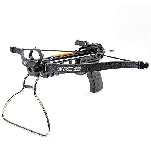 KingsArchery Crossbow Pistol with Bolt Rack Self-Cocking 80 LBS with Adjustable Sights, 3 Aluminum Arrow Bolts, and Safety Feature Warranty