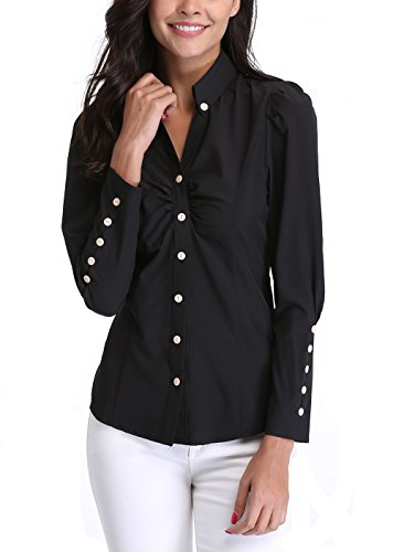 MISS MOLY Women's Black Point Collar Casual T-Shirts Ruffled Chest Button Decor Long Sleeve T-Shirt Blouse Tops XL (18 Misses Tops)
