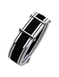 HDT Design N.A.T.O. Short Type Nylon Watch Strap Black Broad [20mm]