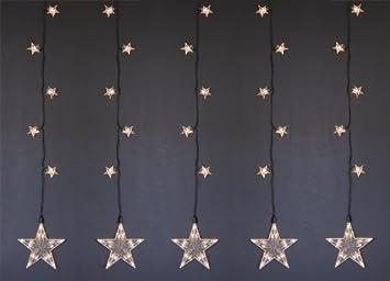LED Lichterkette Fensterbild STAR LIGHT, Sternen  Leuchtvorhang Für INNEN +  AUSSEN