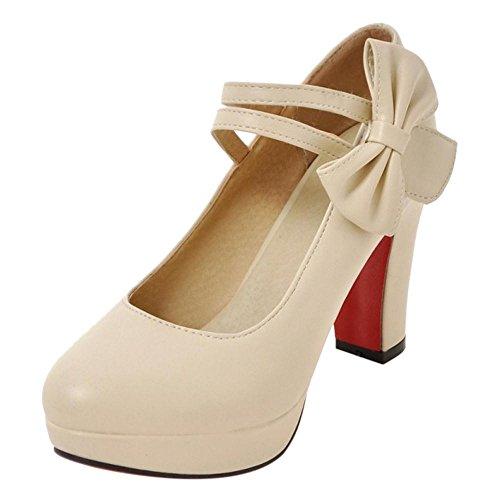 COOLCEPT Women Office Shoes Heels Pumps Shoes Beige-1 H1gbfZ