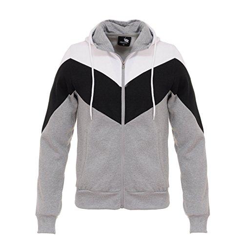 Mens Long Sleeve Active Casual Hoodie Full Zip Up Sweatshirt Grey L