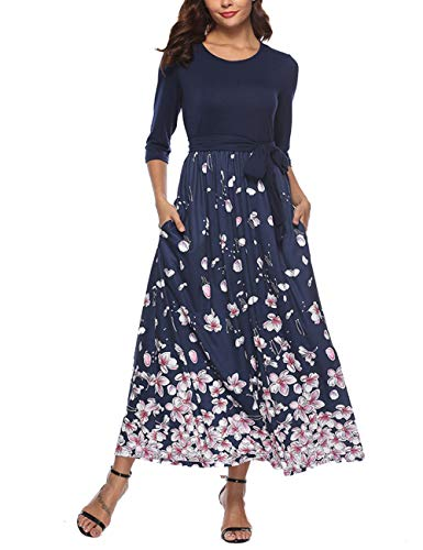 YUMDI Women's 3/4 Sleeve Floral Tie Waist Dress Maxi Long Dresses Pockets Belt Navy M