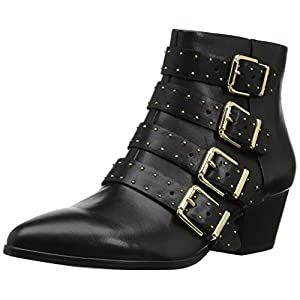 The Fix Women's Hazel 4-Buckle Strap Ankle Boot, Black, 6.5 B US