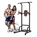Cheap Water-chestnut Adjustable Power Tower Multi-Function Home Strength Training Fitness Workout Station, Pull up Stand Full Body Power Tower Gym Office (Black & red)