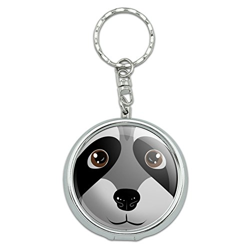 Portable Travel Size Pocket Purse Ashtray Keychain with Cigarette Holder Animals - Raccoon Face Close up