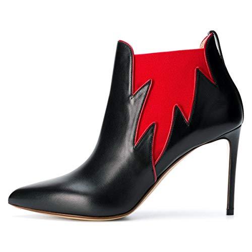 Tacchi Chelsea Boots Stivaletti 4 Chiusa Foglia 15 Noi Scarpe Alti Punta Caviglia Nera Dimensioni Fsj Donne Grazioso AY5qwUp