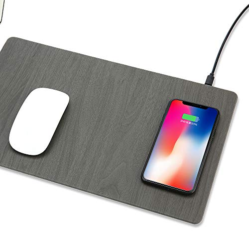 10w Fast Wireless Charger Mouse Pad Qi Wireless Charging Mat with LED Light Indicator 10w Charge for Android and 7.5w Compatible for iPhone(Grey) -