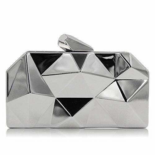 Milisente Women Fashion Metal Evening Handbags Geometric Clutches Purses Bag (Silver)
