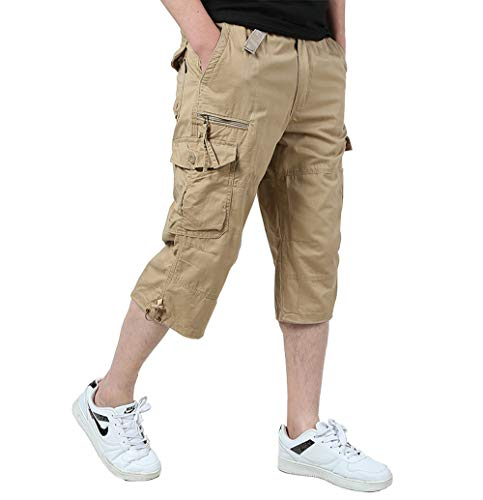 - Ivnfout Men's Cargo Shorts Cropped Pants Baggy Wide Fit Multi-Pocket Knee-Length Capri Shorts(1219-Khaki-XXL)