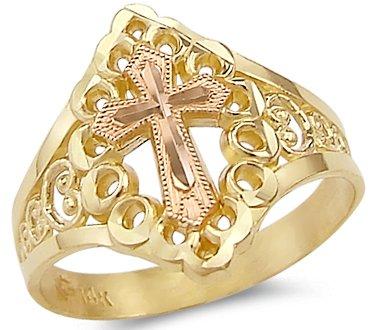 Size- 7 - 14k Yellow n Rose Gold 2 Two Tone Crucifix Cross (Two Tone Gold Crucifix Ring)