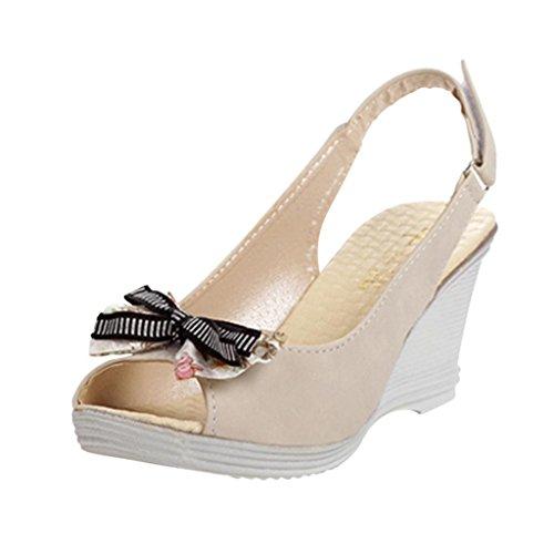 Hee Grand Women Bowknot Peep-Toe Wedge Sandals US 7.5 Beige