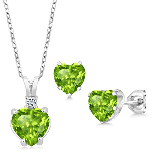 (Gem Stone King 3.24 Ct Heart Shape Green Peridot 925 Sterling Silver Pendant Earrings)