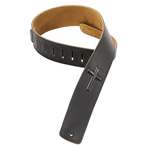 Levy's Leathers DM1SGC-BLK 2.5-inch Leather Strap with Embos