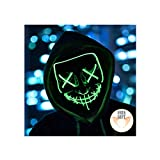 Halloween Mask Light up Mask Cosplay LED Mask Frightening Purge Mask for Festival Cosplay Halloween Parties Costume (Green)