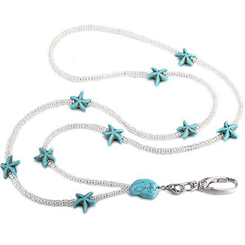 Soleebee 32'' Women Lanyard Necklace, Beaded Jewelry ID Badge Holder Necklace Lanyard with Swivel Oval Clasp (Turquoise Starfish) ()