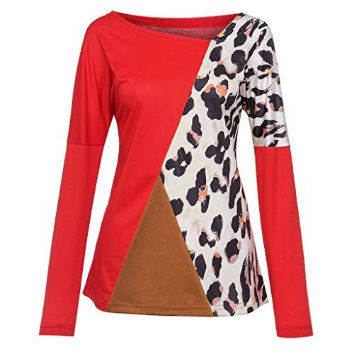 camicetta Camicia Forti Primavera Top Lunga Red Bazhahei Estate T Elegante Maglietta O Moda Manica Donna Pullover 2 Taglie Casual Patchwork Loose shirt collo R5w5qxEn