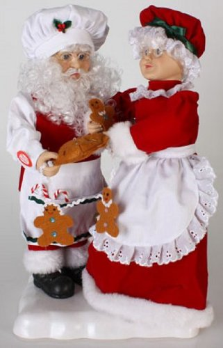 18 animated and musical baking santa and mrs claus christmas figures