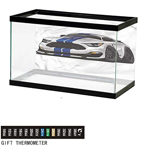 bybyhome Fish Tank Backdrop Boys Room,Muscle Race Rally Car,Aquarium Background,24