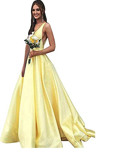 Rjer V Neck Prom Dresses Long Stain Evening Ball Gowns for Women Formal 2019 with Pockets Yellow ()