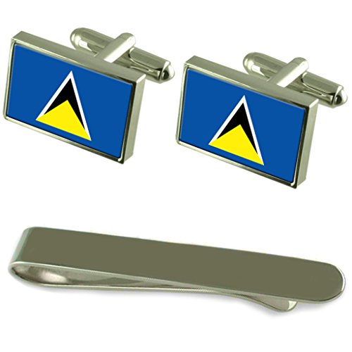 Saint Lucia Flag Silver Cufflinks Tie Clip Engraved Gift Set by Select Gifts