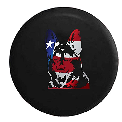 - Flag - German Shepherd Dog Lover K9 Jeep Woof Spare Tire Cover OEM Vinyl Black 28-29 in