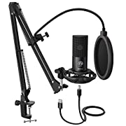 #LightningDeal FIFINE Studio Condenser USB Microphone Computer PC Microphone Kit with Adjustable Scissor Arm Stand Shock Mount for Instruments Voice Overs Recording Podcasting YouTube Karaoke Gaming Streaming-T669