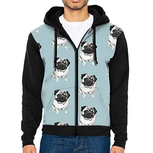 QWZXE MenFrench Bulldog Full Zip Up Hooded Sweatshirt with Pocket Black