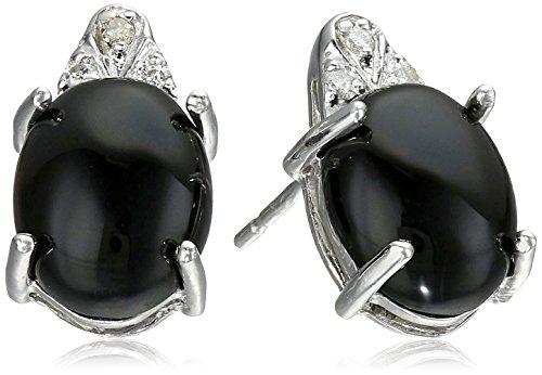 [Rhodium-Plated Sterling Silver Onyx | Jade | Aquamarine and Diamond Accent Stud Earrings] (Aqua Onyx)