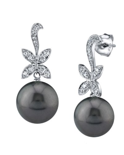 THE PEARL SOURCE 9-10mm Black Tahitian South Sea Cultured Pearl & Cubic Zirconia Butterfly Earrings for Women