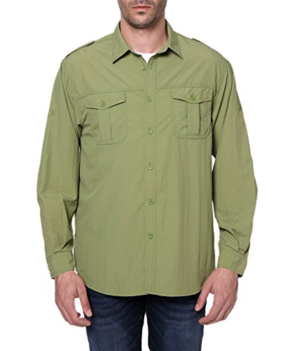 (Trailside Supply Co. Men's Standard Quick-Dry Nylon Breathable Convertible Long Sleeve Fishing Shirt, Epsom Green, 2X-Large)
