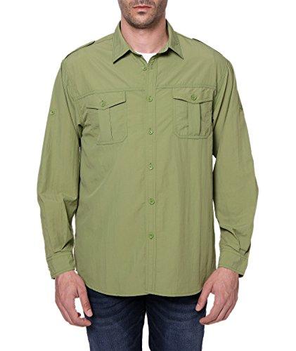 Trailside Supply Co. Men's Standard Quick-Dry Nylon Breathable Convertible Long Sleeve Fishing Shirt, Epsom Green, - Standard Supply