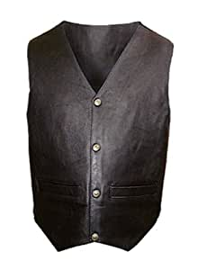Mens Black Leather Motorcycle Vest - Leatherbull (Free U.S. Shipping) (2XL)