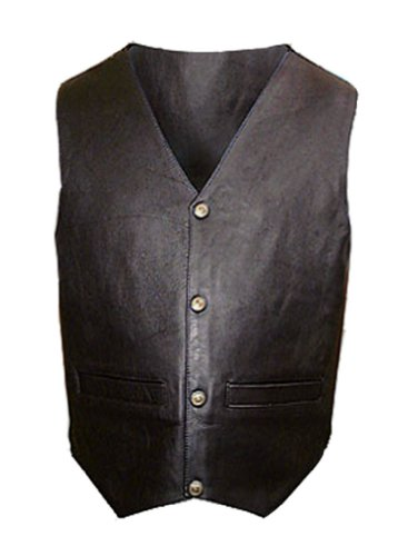 Mens Black Leather Motorcycle Vest - Leatherbull (Free U.S. Shipping) (S)