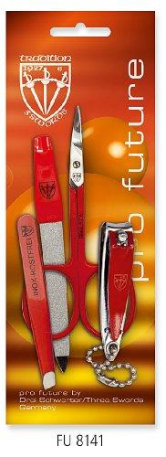 3 SWORDS ALLEMAGNE - pincette, lime à ongles saphir, cuticule ciseaux, coupe-ongles, de couleur rouge, de qualité: trois épées qualité