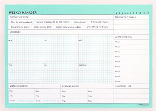 PAPERIAN Weekly Manager - Undated Weekly Desk Pad Scheduler, Planner (Weekly, Tropical Mint)