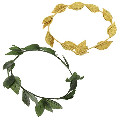 Fityle 2pcs Fabric Gold Plastic Green Leaf Headband, Roman Greek Goddess Caesar Laurel Wreath, Lady Costume Party Headpieces ()
